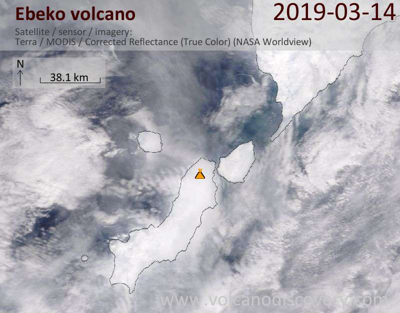 Satellite image of Ebeko volcano on 14 Mar 2019