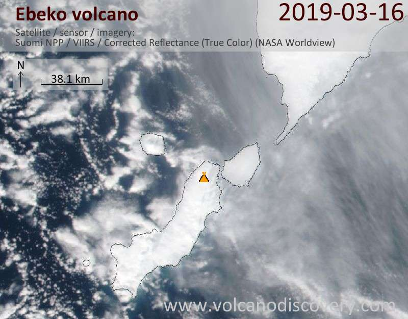 Satellite image of Ebeko volcano on 16 Mar 2019