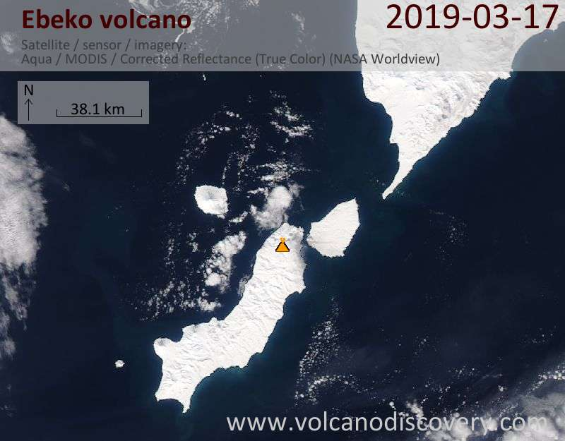 Satellite image of Ebeko volcano on 17 Mar 2019