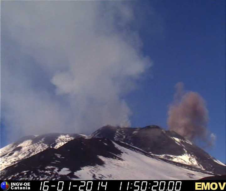 Partial collapse on the NE flank of the New SE crater (Montagnola webcam, INGV Catania)