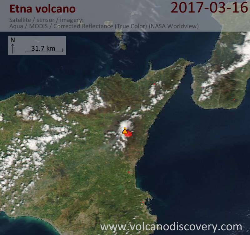Satellite image of Etna volcano on 17 Mar 2017