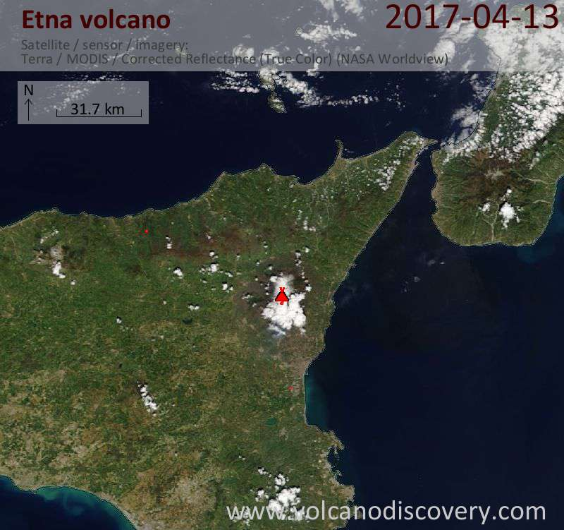 Satellite image of Etna volcano on 13 Apr 2017
