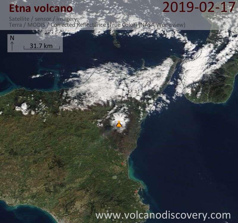 Satellite image of Etna volcano on 17 Feb 2019