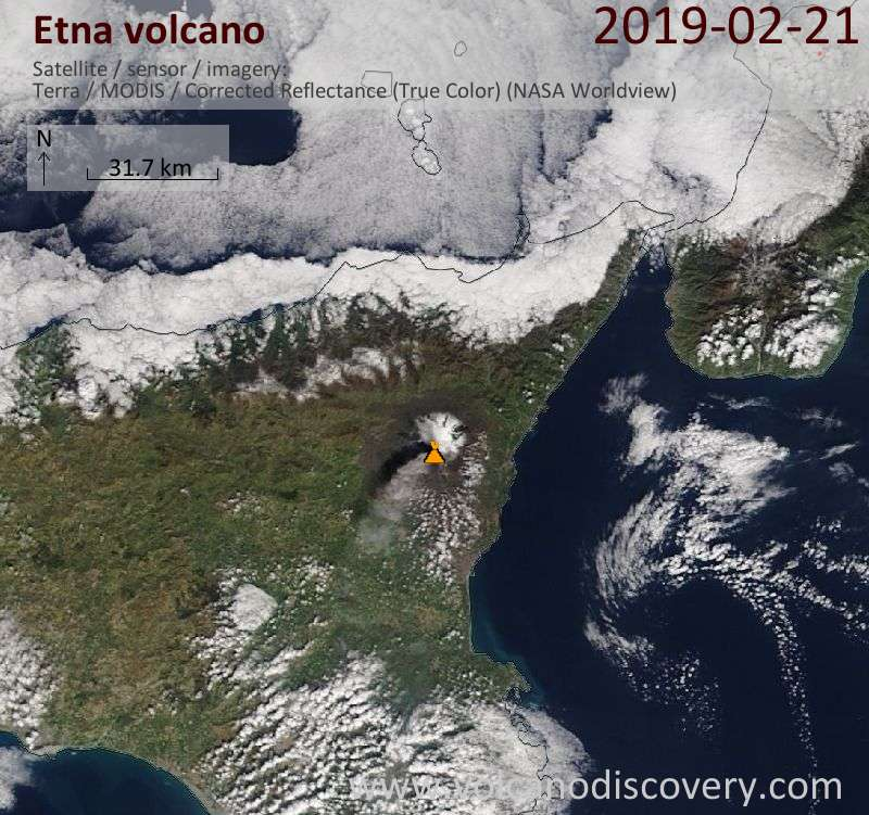 Satellite image of Etna volcano on 21 Feb 2019