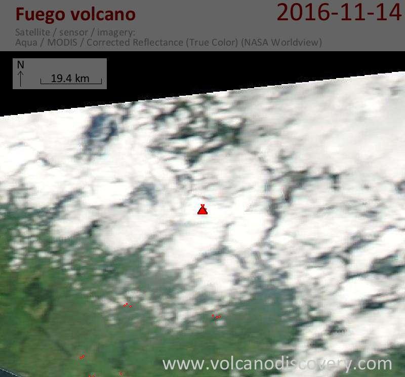 Satellite image of Fuego volcano on 15 Nov 2016