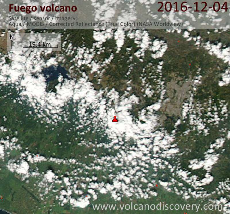 Satellite image of Fuego volcano on  5 Dec 2016