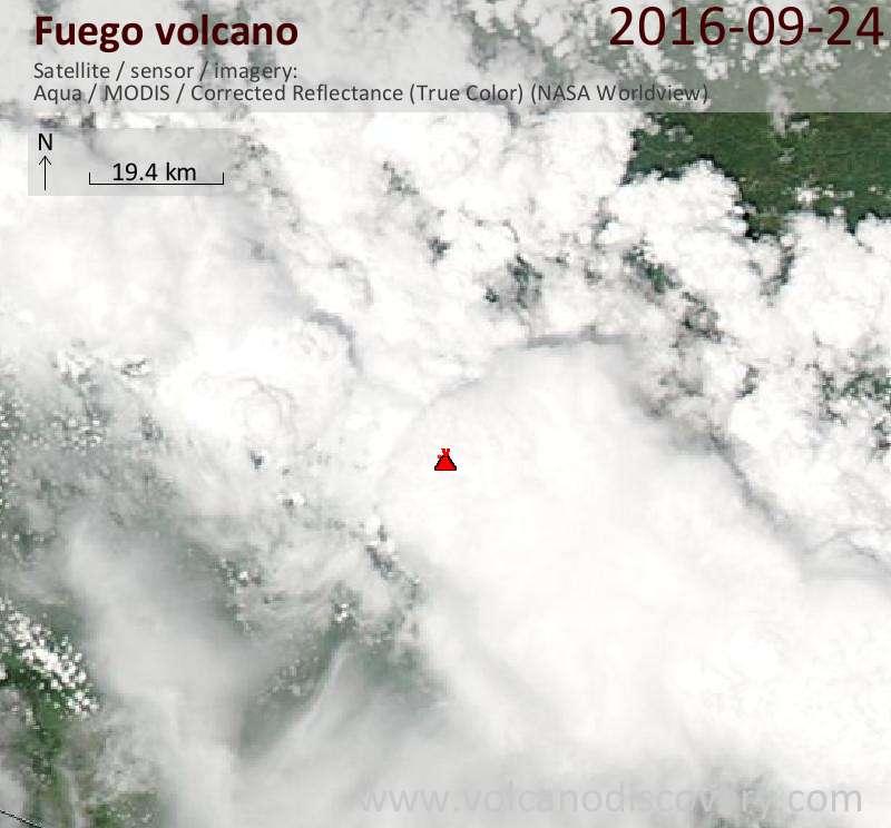 Satellite image of Fuego volcano on 25 Sep 2016