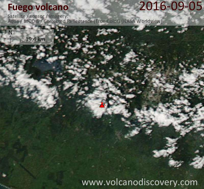 Satellite image of Fuego volcano on  5 Sep 2016