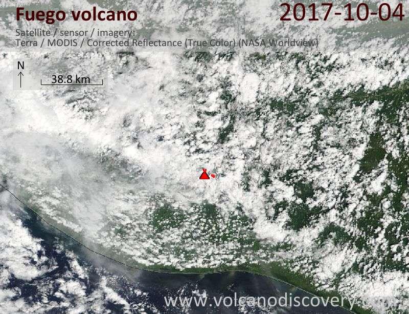 Satellite image of Fuego volcano on  4 Oct 2017