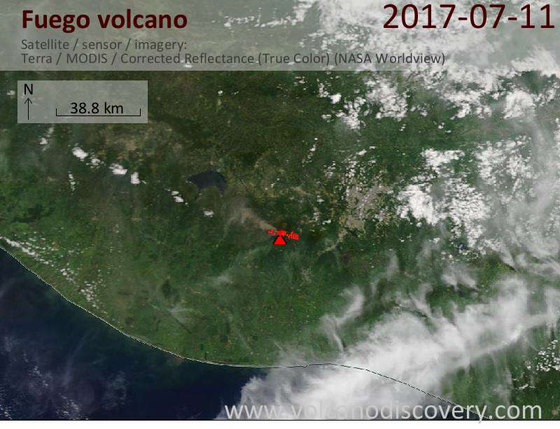 Satellite image of Fuego volcano on 11 Jul 2017
