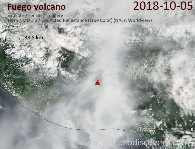 Satellite image of Fuego volcano on  5 Oct 2018
