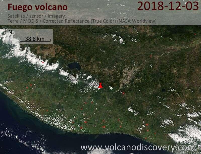 Satellite image of Fuego volcano on  3 Dec 2018