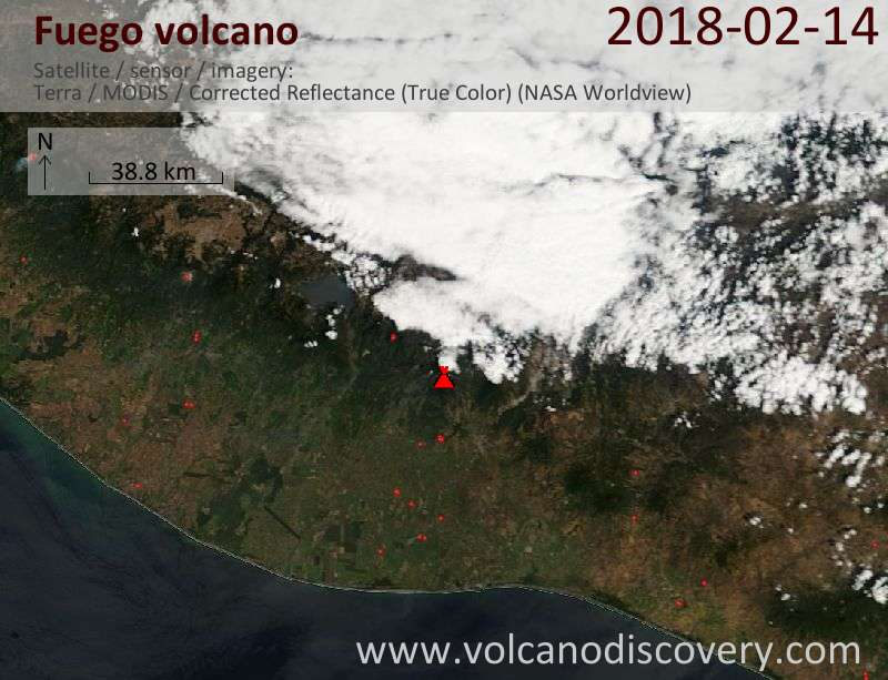 Satellite image of Fuego volcano on 14 Feb 2018