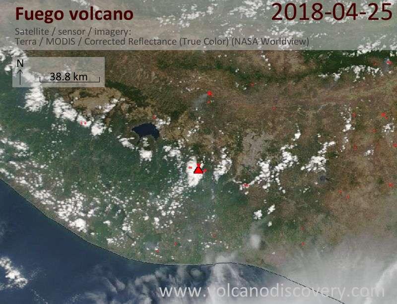 Satellite image of Fuego volcano on 25 Apr 2018