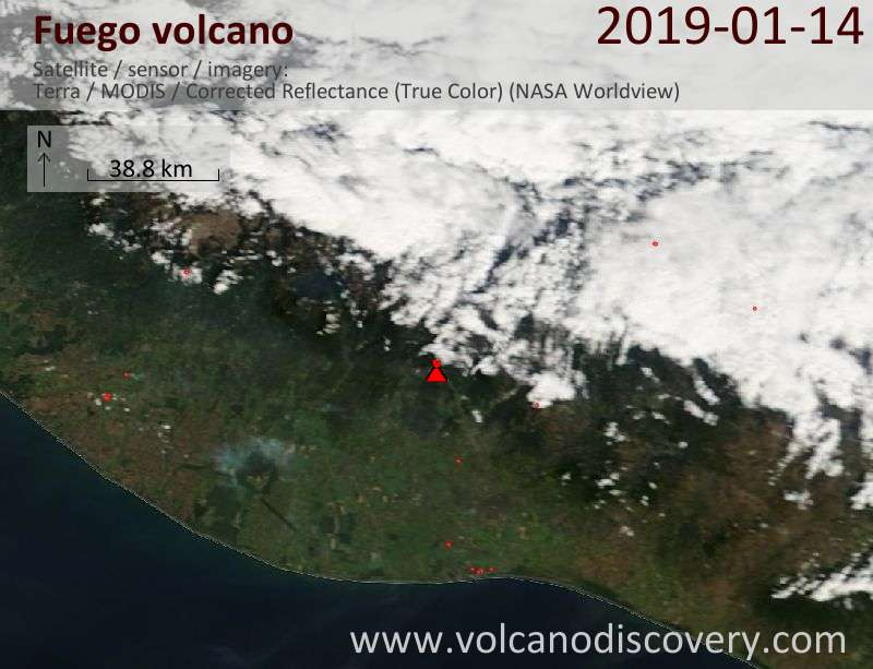Satellite image of Fuego volcano on 14 Jan 2019