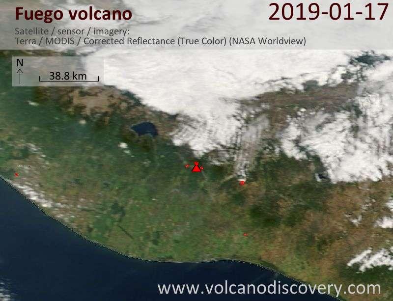 Satellite image of Fuego volcano on 17 Jan 2019