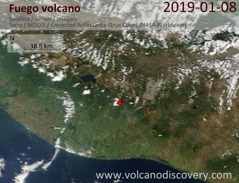Satellite image of Fuego volcano on  9 Jan 2019