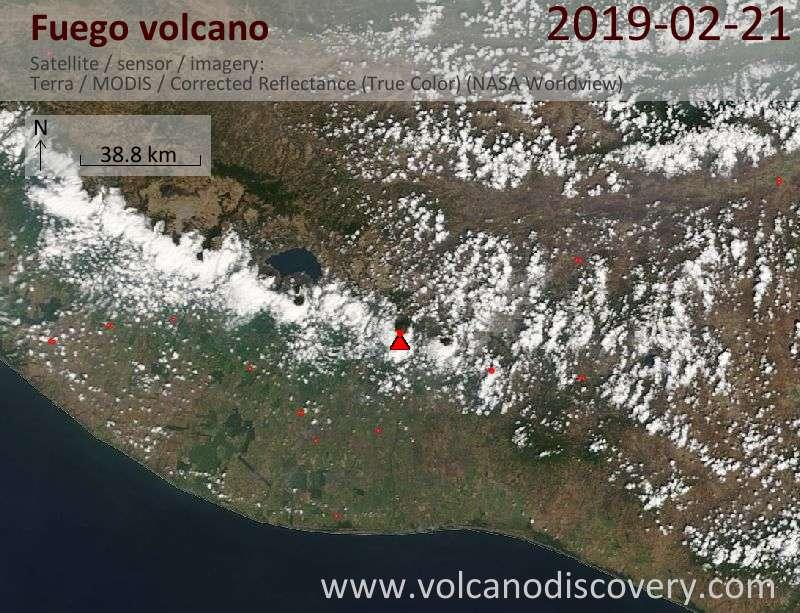 Satellitenbild des Fuego Vulkans am 22 Feb 2019