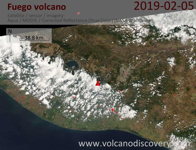 Satellite image of Fuego volcano on  5 Feb 2019