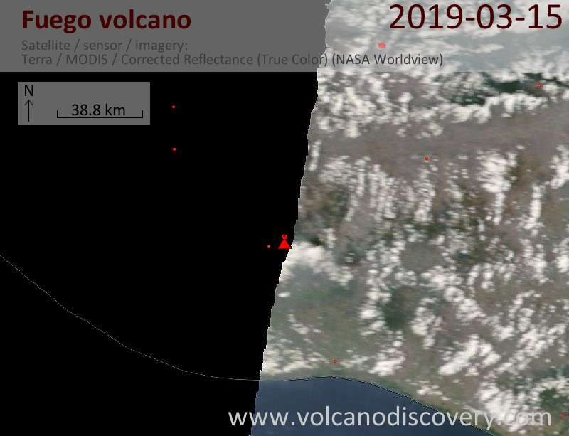 Satellite image of Fuego volcano on 15 Mar 2019
