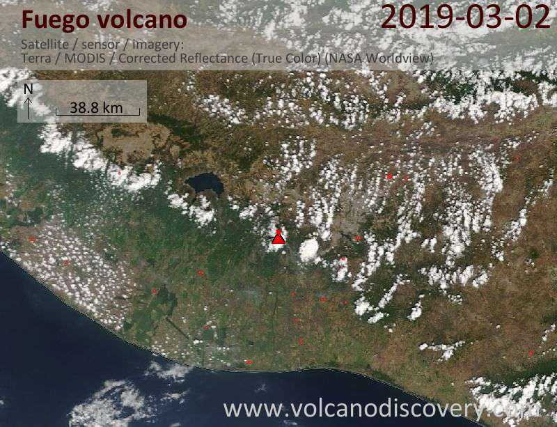 Satellite image of Fuego volcano on  2 Mar 2019