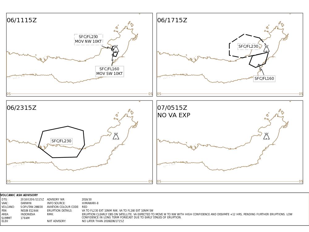 Forecast of ash plume from Soputan's eruption this morning (VAAC Darwin)