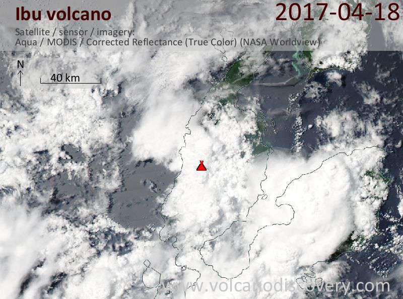 Satellite image of Ibu volcano on 19 Apr 2017