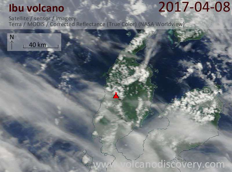 Satellite image of Ibu volcano on  8 Apr 2017