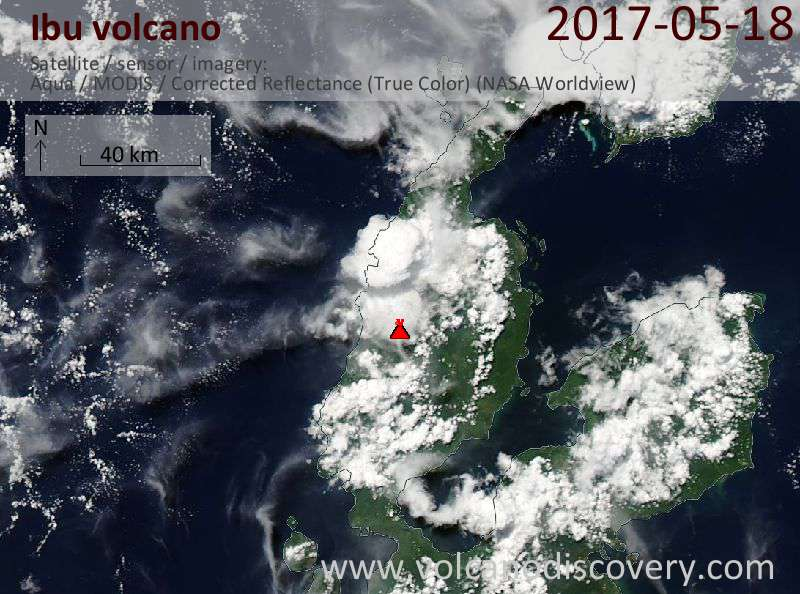 Satellite image of Ibu volcano on 18 May 2017