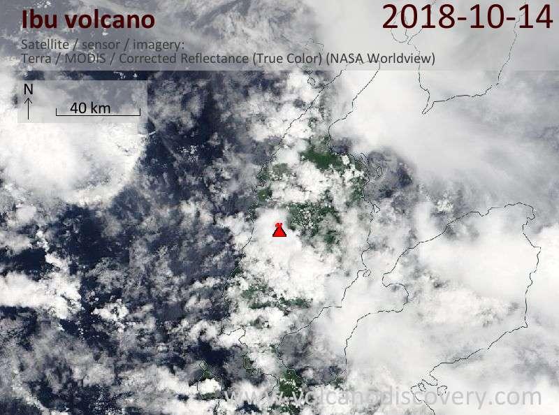 Satellite image of Ibu volcano on 14 Oct 2018