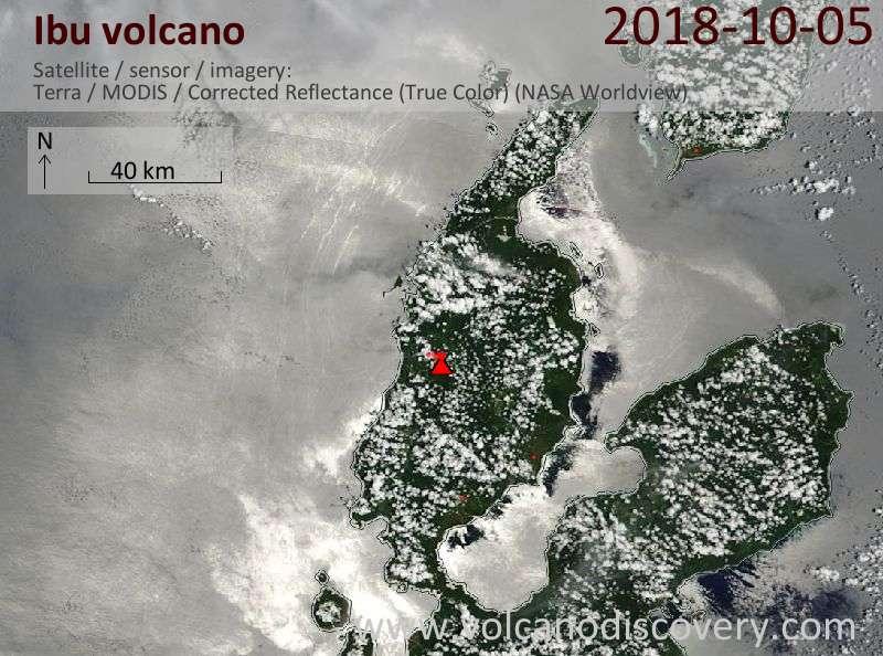 Satellite image of Ibu volcano on  5 Oct 2018