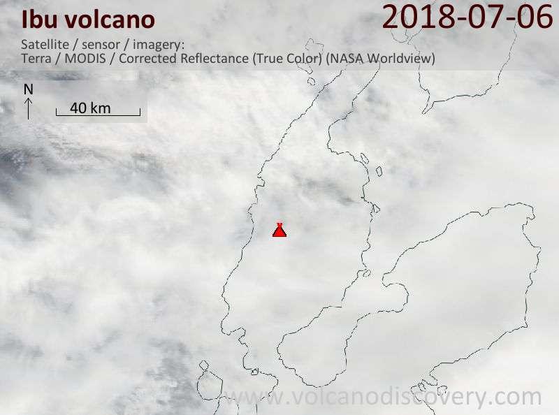 Satellite image of Ibu volcano on  6 Jul 2018