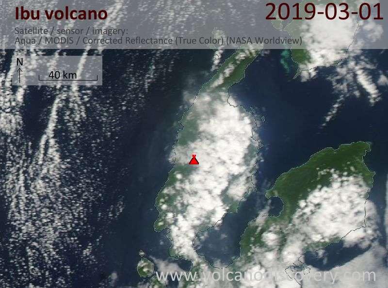 Satellite image of Ibu volcano on  1 Mar 2019