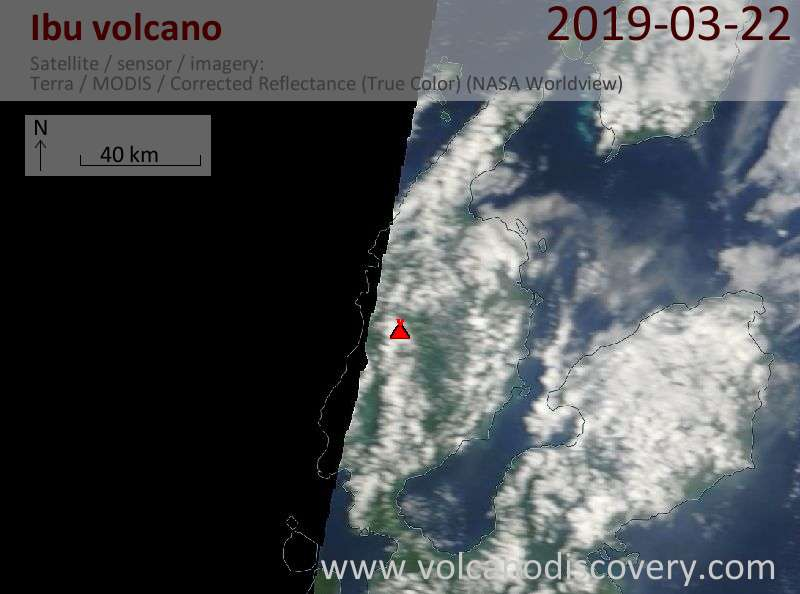 Satellite image of Ibu volcano on 22 Mar 2019