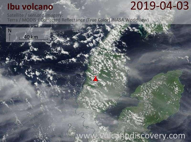 Satellite image of Ibu volcano on  3 Apr 2019