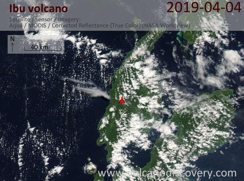 Satellite image of Ibu volcano on  4 Apr 2019