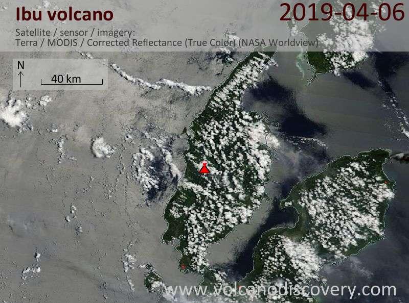 Satellite image of Ibu volcano on  6 Apr 2019