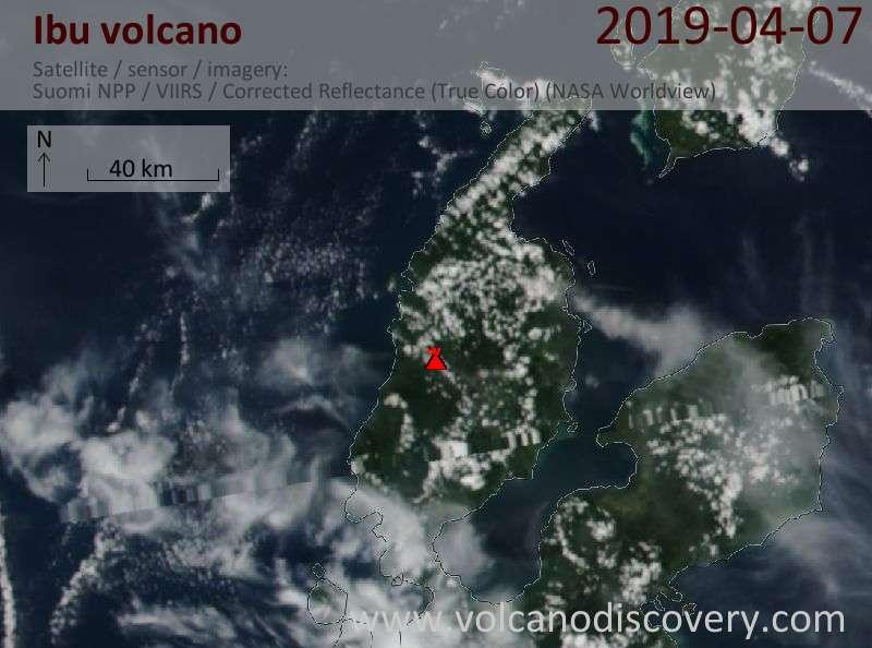Satellite image of Ibu volcano on  7 Apr 2019