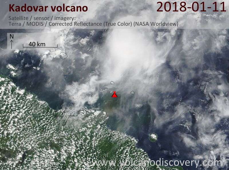 Satellite image of Kadovar volcano on 11 Jan 2018