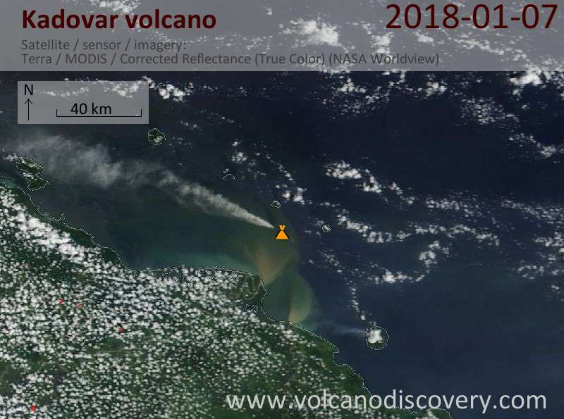 Satellite image of Kadovar volcano on  7 Jan 2018