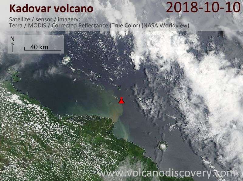 Satellite image of Kadovar volcano on 10 Oct 2018