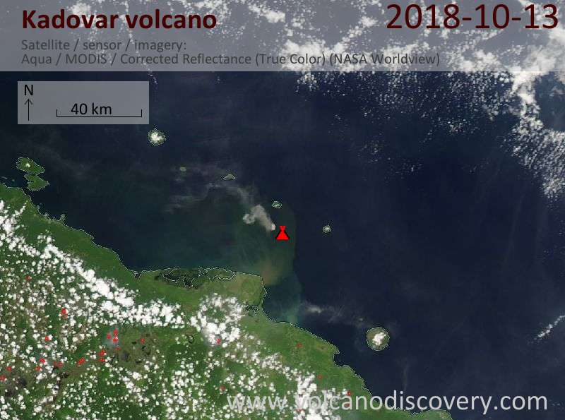 Satellite image of Kadovar volcano on 13 Oct 2018