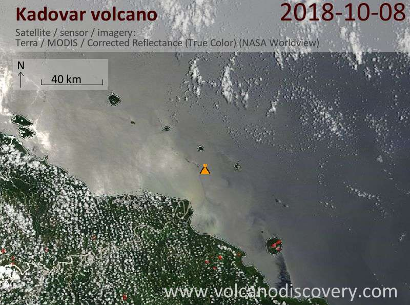 Satellite image of Kadovar volcano on  8 Oct 2018
