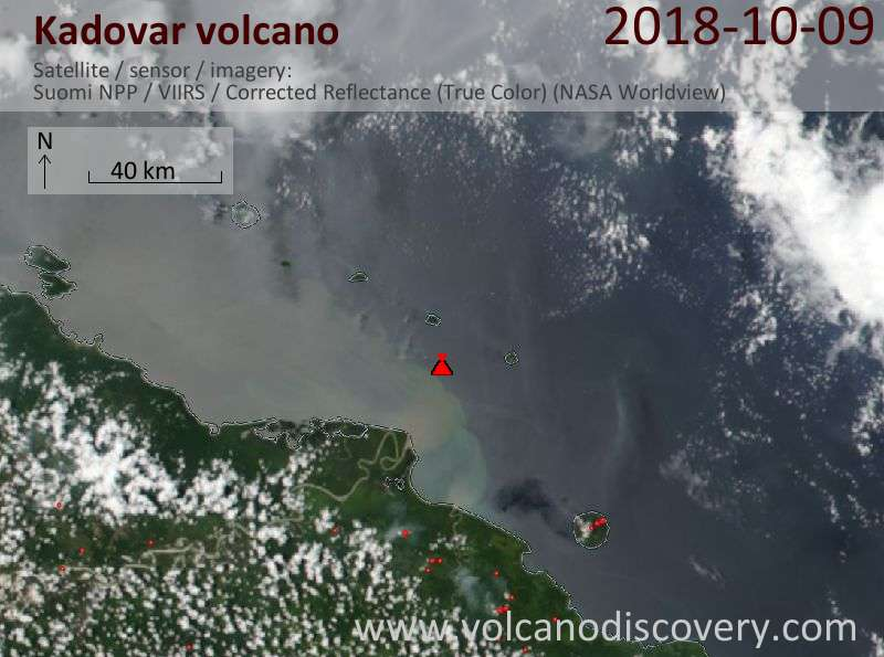 Satellite image of Kadovar volcano on  9 Oct 2018
