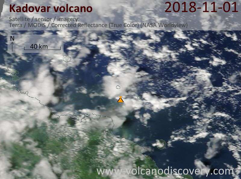 Satellite image of Kadovar volcano on  1 Nov 2018