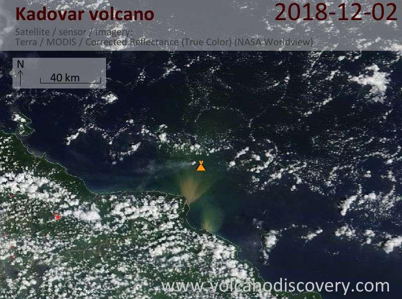 Satellite image of Kadovar volcano on  2 Dec 2018