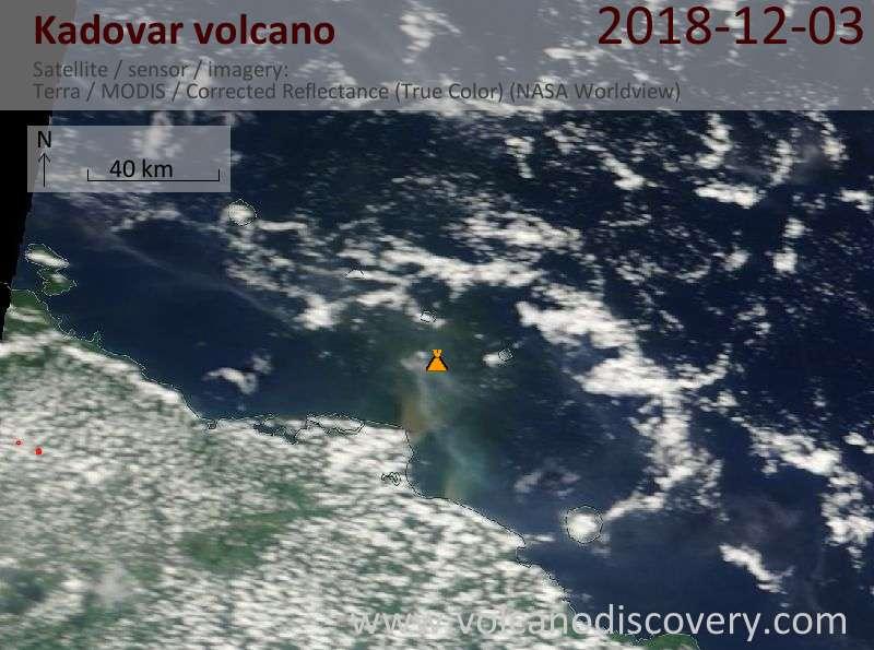 Satellite image of Kadovar volcano on  3 Dec 2018