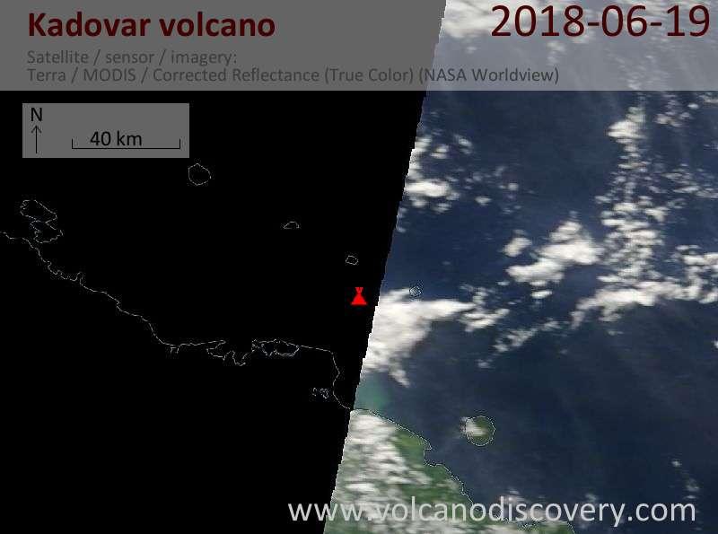 Satellite image of Kadovar volcano on 19 Jun 2018