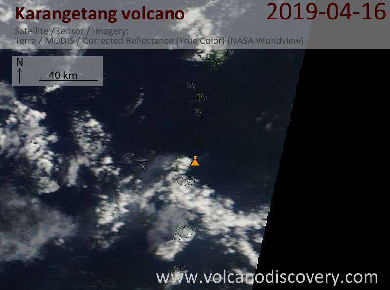 Satellite image of Karangetang volcano on 16 Apr 2019