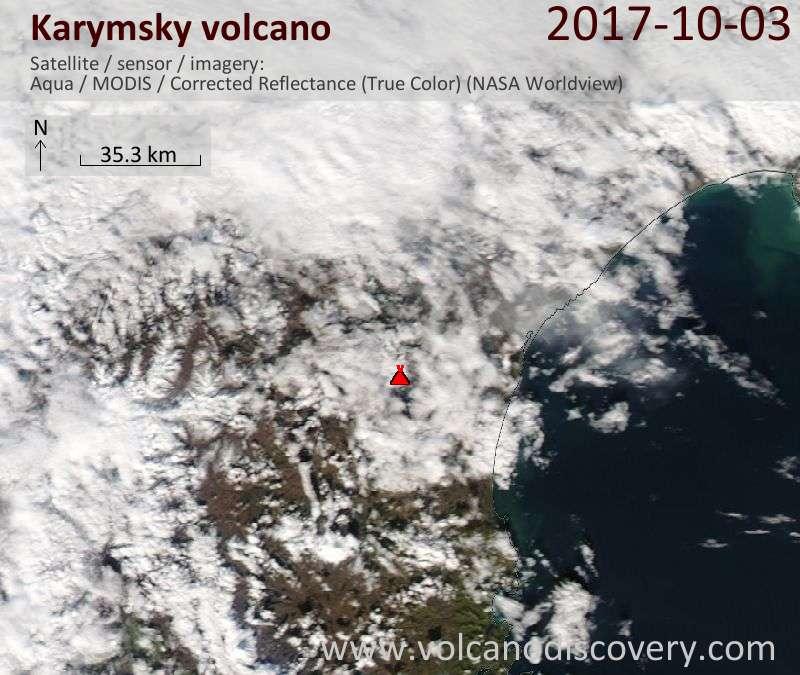 Satellite image of Karymsky volcano on  3 Oct 2017